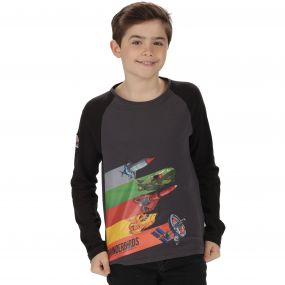 Thunderbirds Are Go Kids Peril Long Sleeved Cotton T-Shirt Seal Grey Black