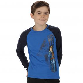Thunderbirds Are Go Kids Peril Graphic Print Long Sleeved Cotton T-Shirt Oxford Blue Navy