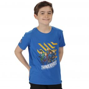 Thunderbirds Are Go Kids Heatshield Graphic Print Cotton T-Shirt Oxford Blue