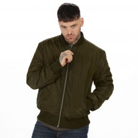 Originals Fallowfield Diamond Quilted Bomber Jacket Dark Khaki