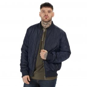 Originals Fallowfield Diamond Quilted Bomber Jacket Navy