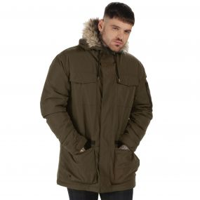 Originals Ardwick Waterproof Insulated Parka Jacket with Faux Fur Trim Hood Dark Khaki