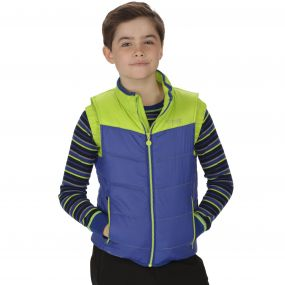 Kids Icebound II Mid Weight Insulated Gilet Surfspray Blue Lime Zest