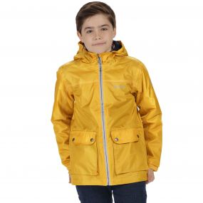 Kids Malham Waterproof Reflective Hooded Jacket Old Gold