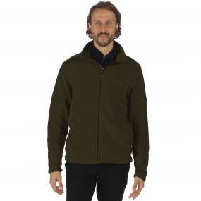 Eddard Full Zip Grid Textured Fleece Dark Khaki