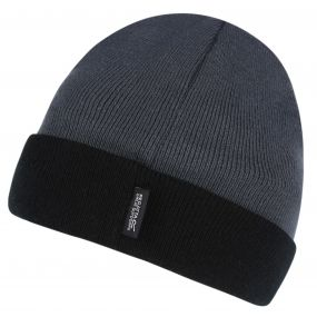 Men's 2 Pack Shakur Knitted Hat Seal Grey Navy