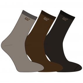 Men's 3 Pack Plain Socks Brown Marl