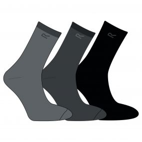 Men's 3 Pack Plain Socks Grey Marl
