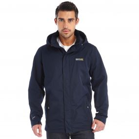 Matt Waterproof Shell Jacket with Concealed Hood Navy