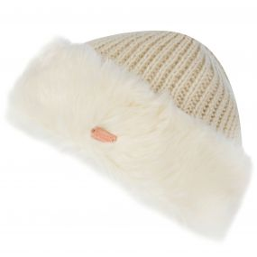 Women's Ludz Faux Fur Trim Knitted Hat Light Vanilla