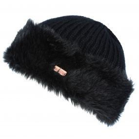 Women's Ludz Faux Fur Trim Knitted Hat Black