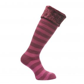 Women's Fur Collar Wellington Socks Blackcurrant Vivid Viola