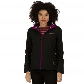 Connie III Funnel Neck Softshell Jacket Black Blackcurrant