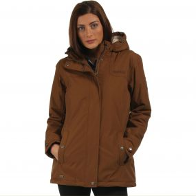 Brodiaea Waterproof Insulated Hooded Jacket Saddle Brown