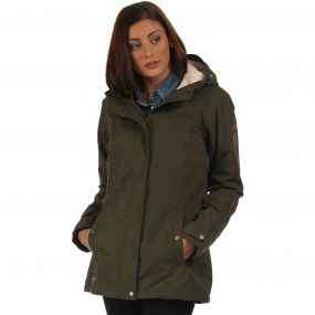 Brodiaea Waterproof Insulated Hooded Jacket Dark Khaki