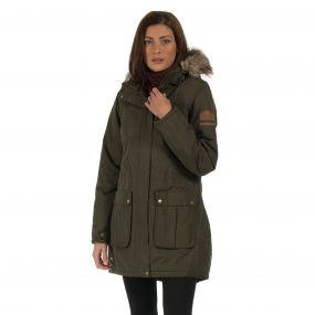Schima Waterproof Insulated Parka Jacket with Faux Fur Trim Hood Dark Khaki