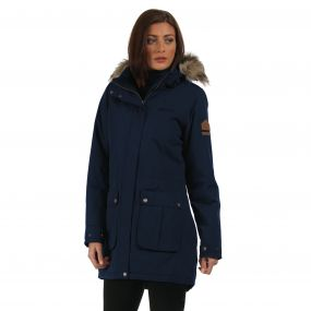 Schima Waterproof Insulated Parka Jacket with Faux Fur Trim Hood Navy