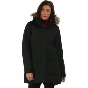 Schima Waterproof Insulated Parka Jacket with Faux Fur Trim Hood Black