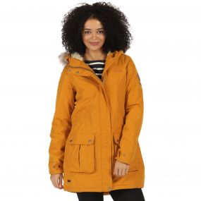 Schima II Breathable Waterproof Insulated Parka Jacket with Faux Fur Trim Hood Gold Cumin
