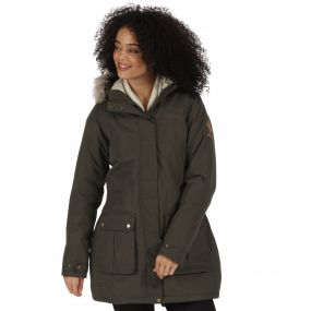 Schima II Breathable Waterproof Insulated Parka Jacket with Faux Fur Trim Hood Dark Khaki