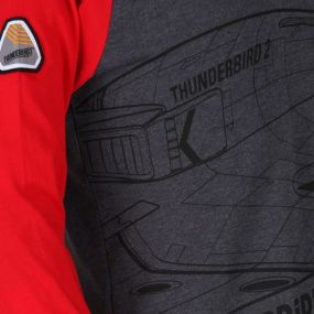 Thunderbirds Are Go Kids Peril leeved Cotton T-Shirt Grey Marl Pepper Red