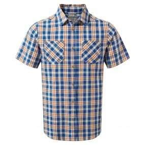 Jamieson Short-Sleeved Check Shirt Deep Blue
