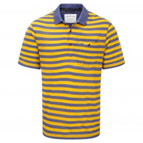 Fraser Short-Sleeved Polo Dusk Blue Mustard