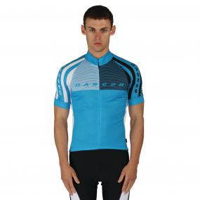 Dare 2B Men's AEP Chase Out Jersey Cycle Top Fluro Blue