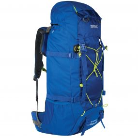 Blackfell II 60 + 10 Litre Expandable Backpack Oxford Blue Lime Zest