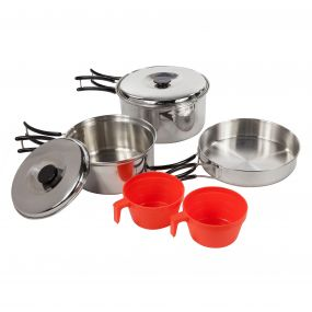 Compact Stainless Steel Cookset with Storage Bag Silver