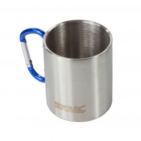Steel Camping Mug with Karabina Handle Silver
