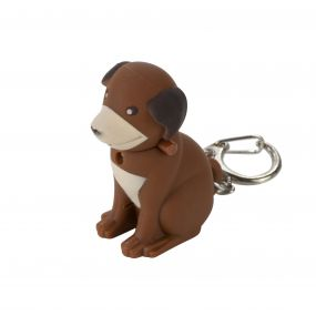 Keyring Animal Torch Dog Brown