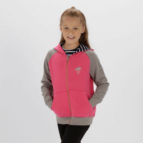Kids Tetra Hooded Fleece Hot Pink Rock Grey