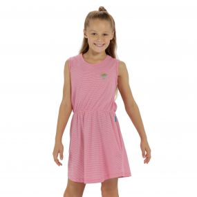 Davonna Coolweave Cotton Stripe Jersey Dress Hot Pink White