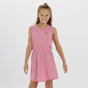 Kids Davonna Cool Weave Cotton Stripe Jersey Dress Hot Pink White