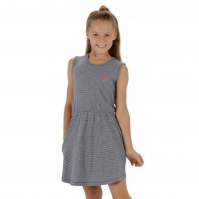 Davonna Coolweave Cotton Stripe Jersey Dress Navy White