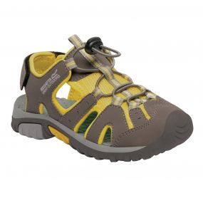 Kids Deckside Sandal Walnut Yellow
