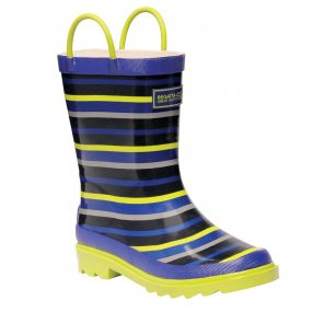 Kids Minnow Wellington Boots Surfspray Blue Lime Zest