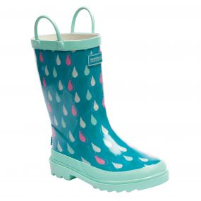 Kids Minnow Wellington Boots Aqua Mint Green