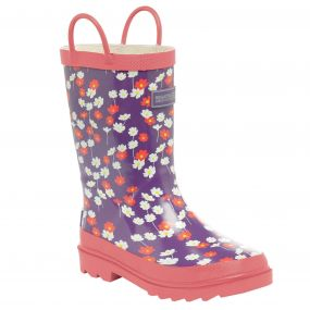 Kids Minnow Wellington Boot Purple Heart