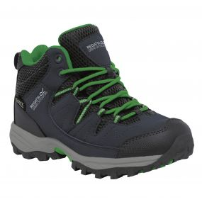 Kids Holcombe Mid Walking Boots Seal Grey Extreme Green