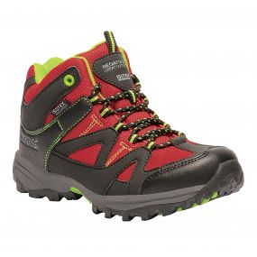 Kids Gatlin Mid Walking Boots Chinese Red Lime Punch