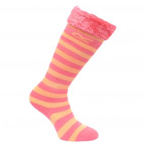 Kids Fur Collar Striped Wellington Socks