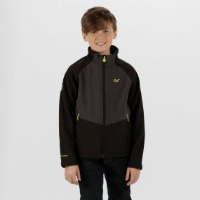 Kids Varro Woven Stretch Softshell Jacket Black Ash