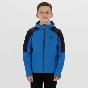 Kids Acidity II Reflective Hooded Softshell Jacket Skydiver Blue Amber Glow