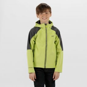 Kids Acidity II Reflective Hooded Softshell Jacket Lime Zest Seal Grey
