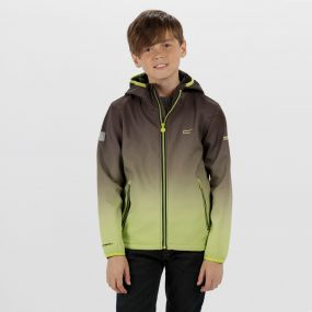 Anodize Hooded Woven Stretch SoftShell Jacket Black Lime Zest