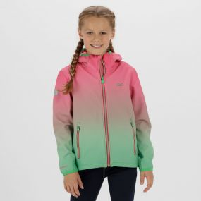 Kids Anodize Hooded Woven Stretch Softshell Jacket Hot Pink Island Green