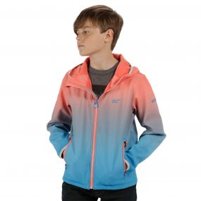 Anodize Hooded Woven Stretch SoftShell Jacket Neon Peach Pluto