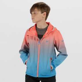 Kids Anodize Hooded Woven Stretch Softshell Jacket Neon Peach Pluto